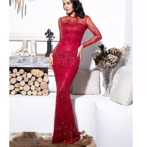 New red glitter formal gown